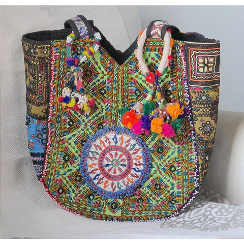 Embroidered Banjara Bag with Pom-poms