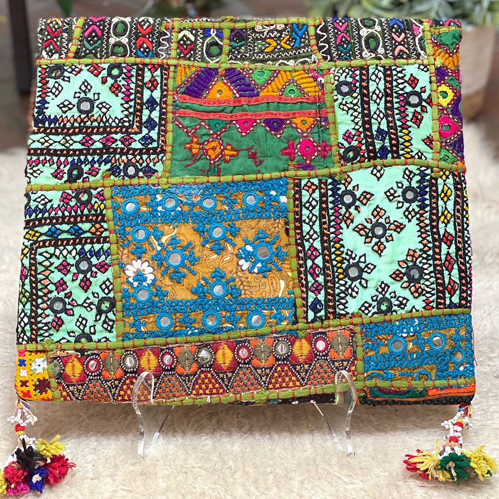 Back of Vintage embroidered kutchi tribe  bag - The Fox and the Mermaid