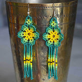Green Beaded Aztec Indian Earrings The Fox and the Mermaid