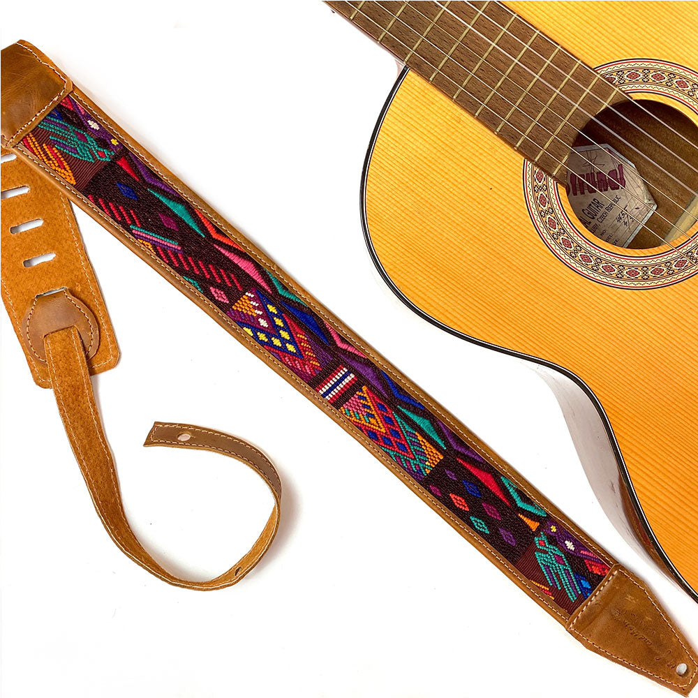 embroidered guitar strap from guatemala with green birds  Guitar Strap - The Fox and the Mermaid