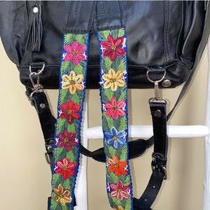 green floral guatemalan backpack straps - The Fox and the Mermaid