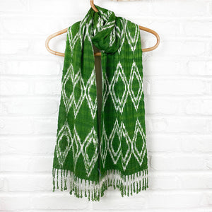 Green ikat guatemalan scarf - The Fox and the Mermaid
