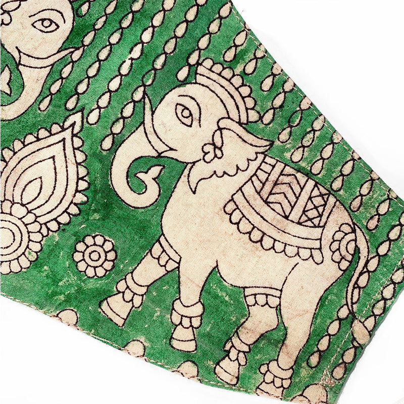 detail of elephany on hand painted mask - The Fox and the Mermaid