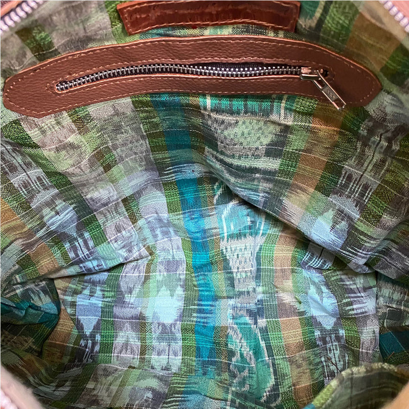 Green ikat bag lining  - The Fox and the Mermaid