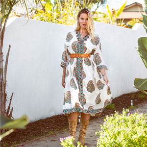 Block printed indian kaftan dress - The Fox and the Mermaid