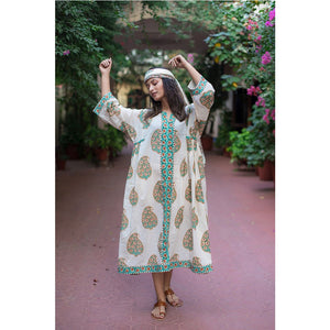 block printed caftan style dress The Fox and the Mermaid