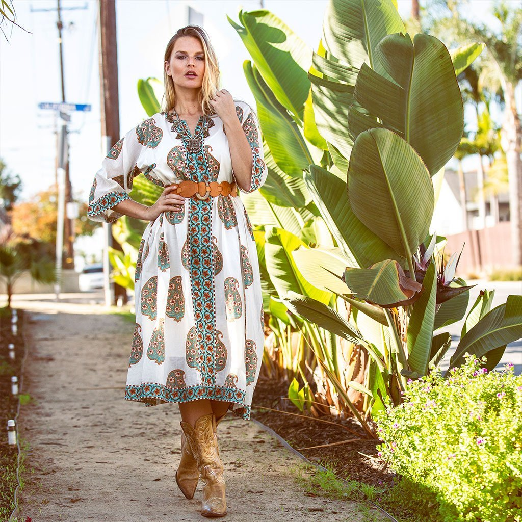Green block printed Kaftan Dress The Fox and the Mermaid