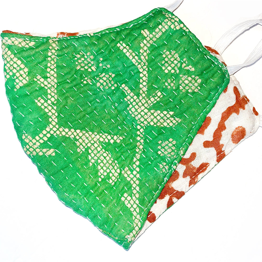 Bright Green hand stitched cotton  mask - The Fox and the Mermaid