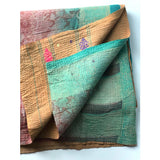 kantha quilt green and gold The Fox and the Mermaid