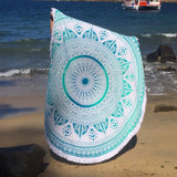 Minty Green Ombre Mandala Roundie with Thick Fringe - The Fox and The Mermaid - 5