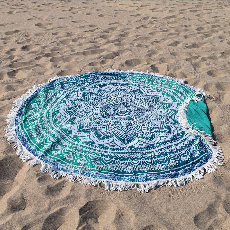 Mandala Tapestry Terrycloth Beach Towel The Fox and the Mermaid