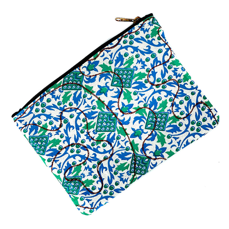 Green and blue block printed coin purse - The Fox and the Mermaid