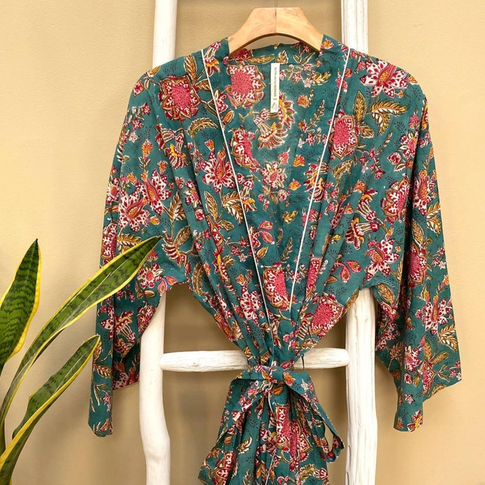 green and pink cotton hand block-printed robe The Fox and the Mermaid