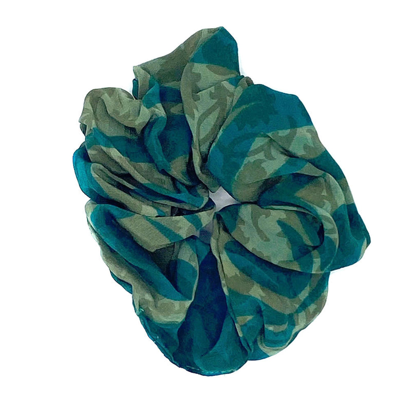 Green silk hair scrunchie - The Fox and the Mermaid