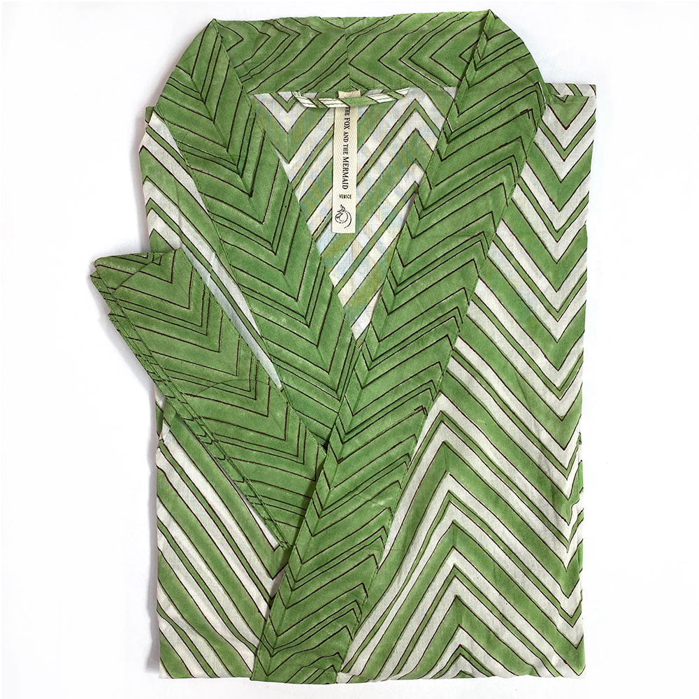 Green Striped Block Printed Robe - The Fox and the Mermaid