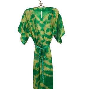 Green and Yellow Silk Tie-Dyed Robe The Fox and the Mermaid