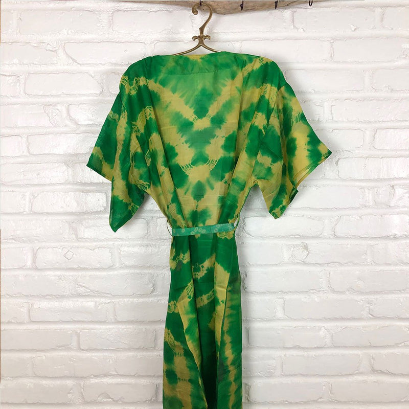 Back of silk green and yellow kimono The Fox and the Mermaid
