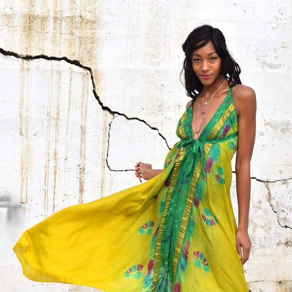Green tie-dye vintage silk dress the fox and the mermaid
