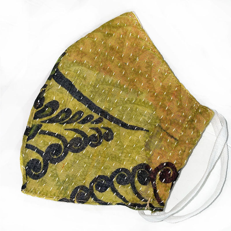 kantha stitched cotton face mask - The Fox and the Mermaid