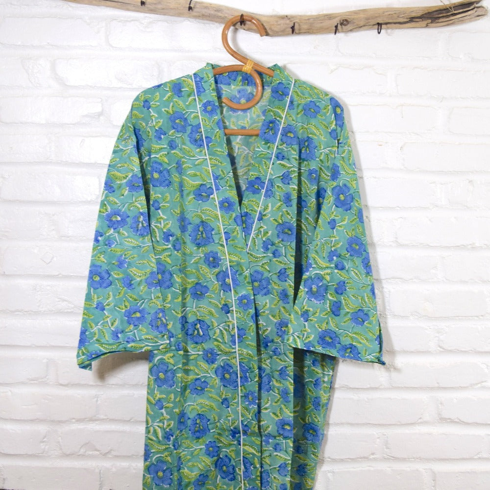Hand Block Printed Kimono Robe - The Fox and The Mermaid