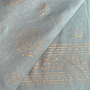 grey blue sarong with gold  - The Fox and the Mermaid