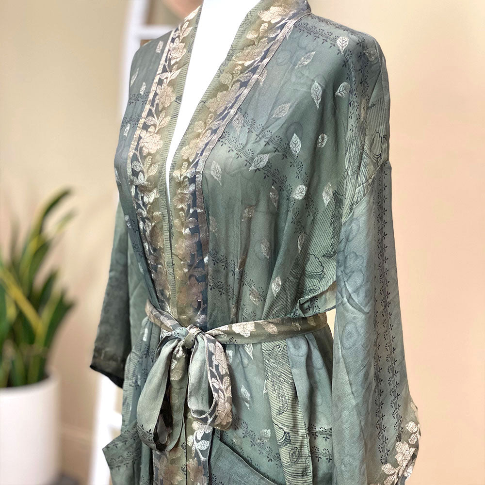 Gray and gold silk kimono - The Fox and the Mermaid