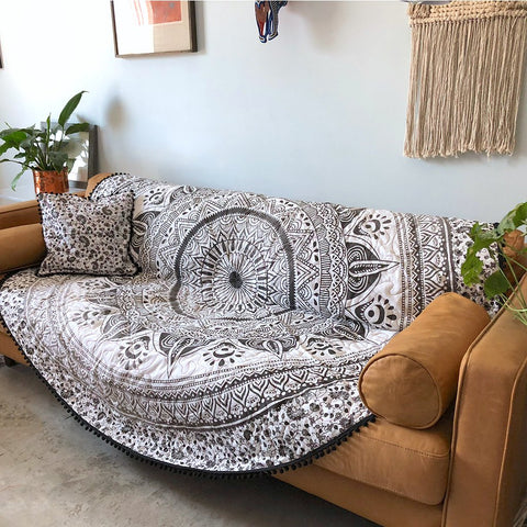 Grey Ombre Mandala Roundie Quilt with Pom-Poms
