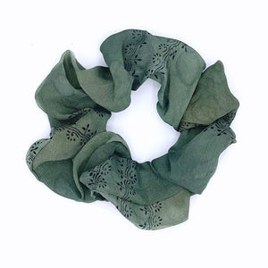 gray silver silk scrunchie - The Fox and the Mermaid