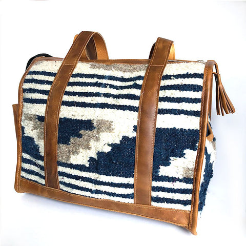 Blue and Grey Guatemalan Wool Dog Purse and Carrier
