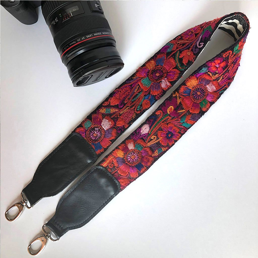 red embroidered camera strap The Fox and the Mermaid