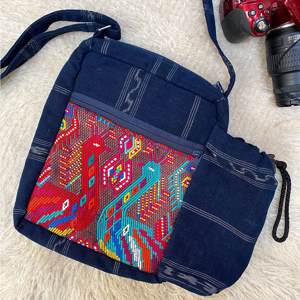 Denim camera bag with embroidered birds