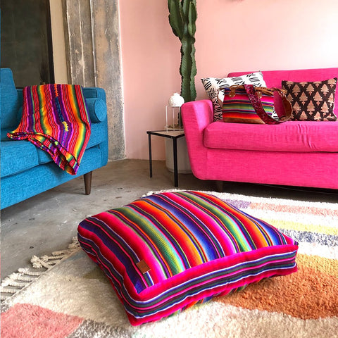 Mayan Rainbow Floor Cushion and Dog Bed