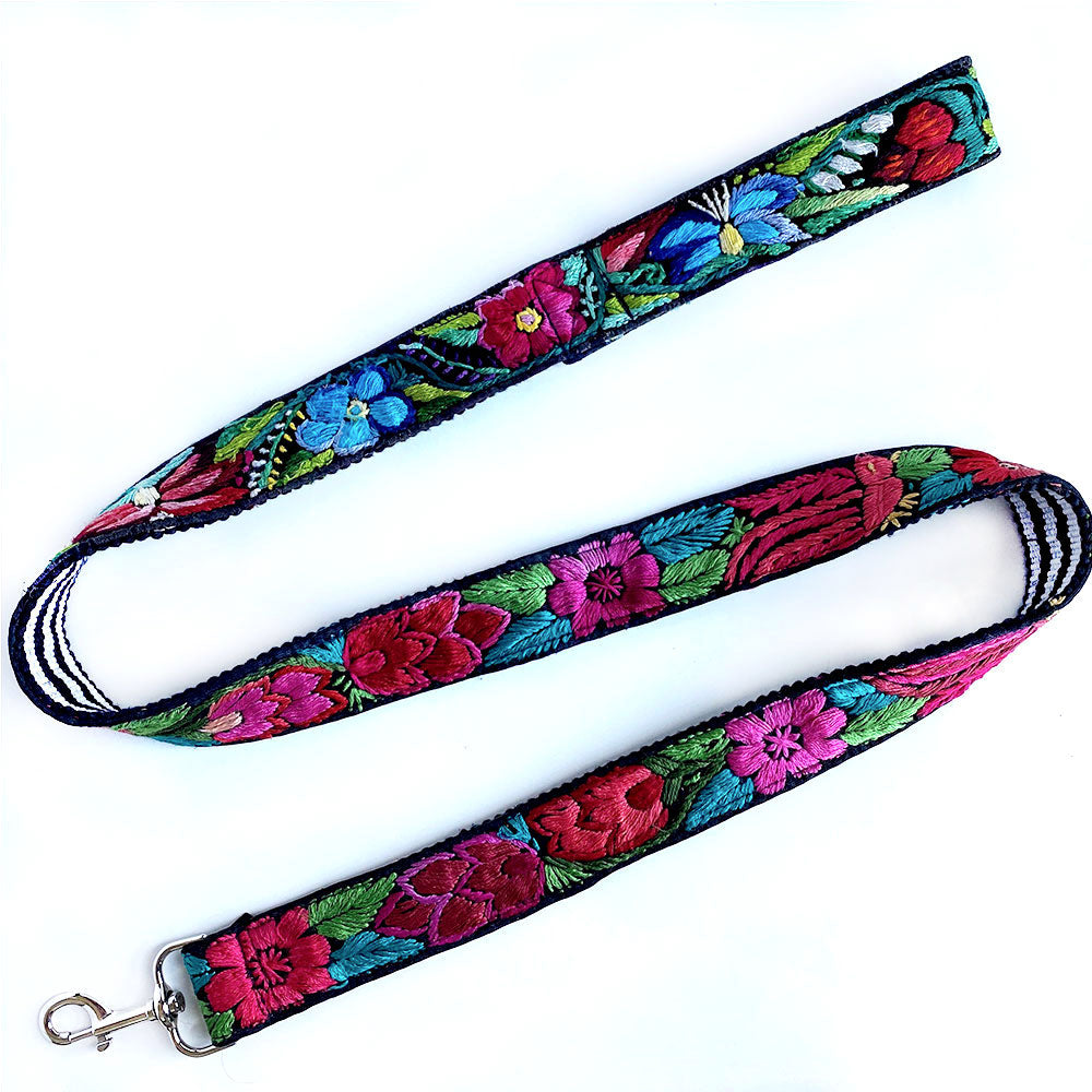 Embroidered dog lead with flowers - The Fox and the Mermaid