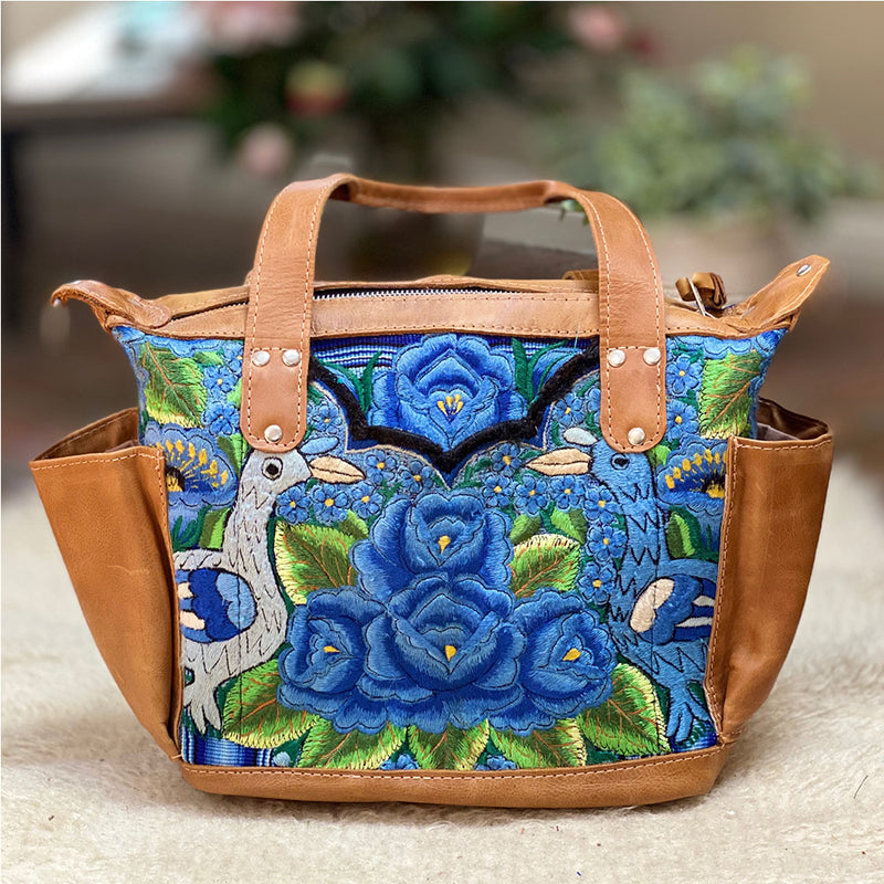 Blue and Green Huipil Bag - The Fox and the Mermaid