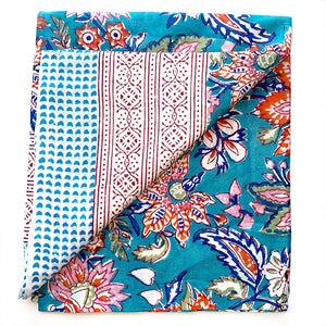 green and orange floral cotton sarong  - The Fox and the Mermaid