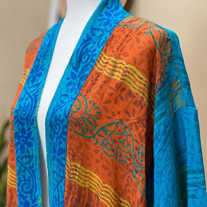 orange and blue vintage saree robe kimono  - The Fox and the Mermaid