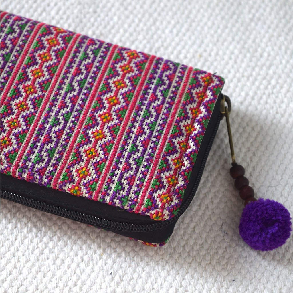 Hand Woven Hmong Tribe Wallet - The Fox and The Mermaid - 1