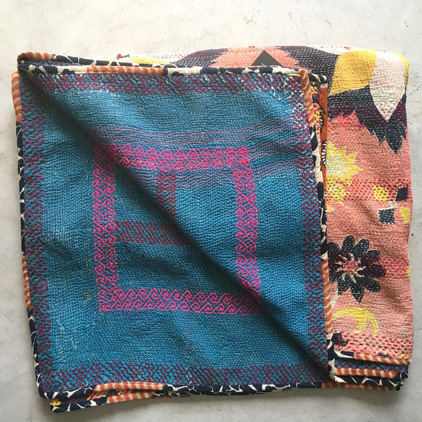 Hand-Stitched Heavyweight Kantha Throw | The Fox and The