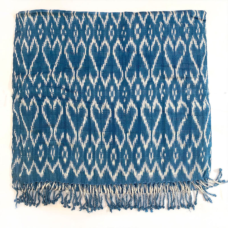 handwoven guatemalan scarf with hearts - The Fox and the Mermaid