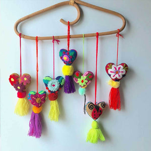 Heart shaped embroiderd pom-poms The Fox and the Mermaid