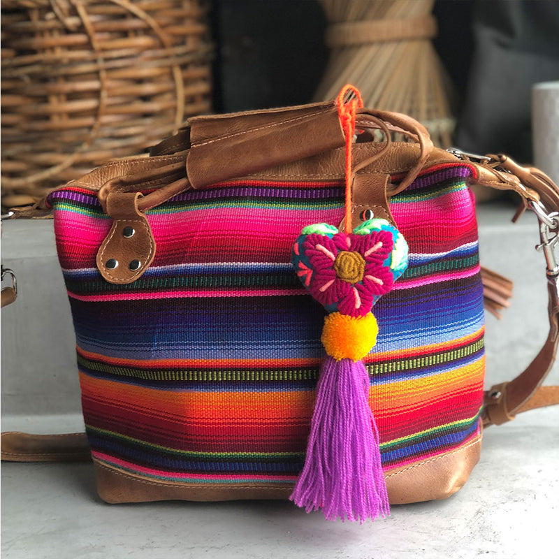 serape bag with embroidered heart shaped tassel - The Fox and the Mermaid