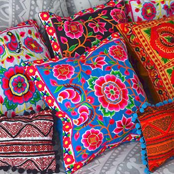 Embroidered Thai Hill Tribe Cushions (Various Colors)