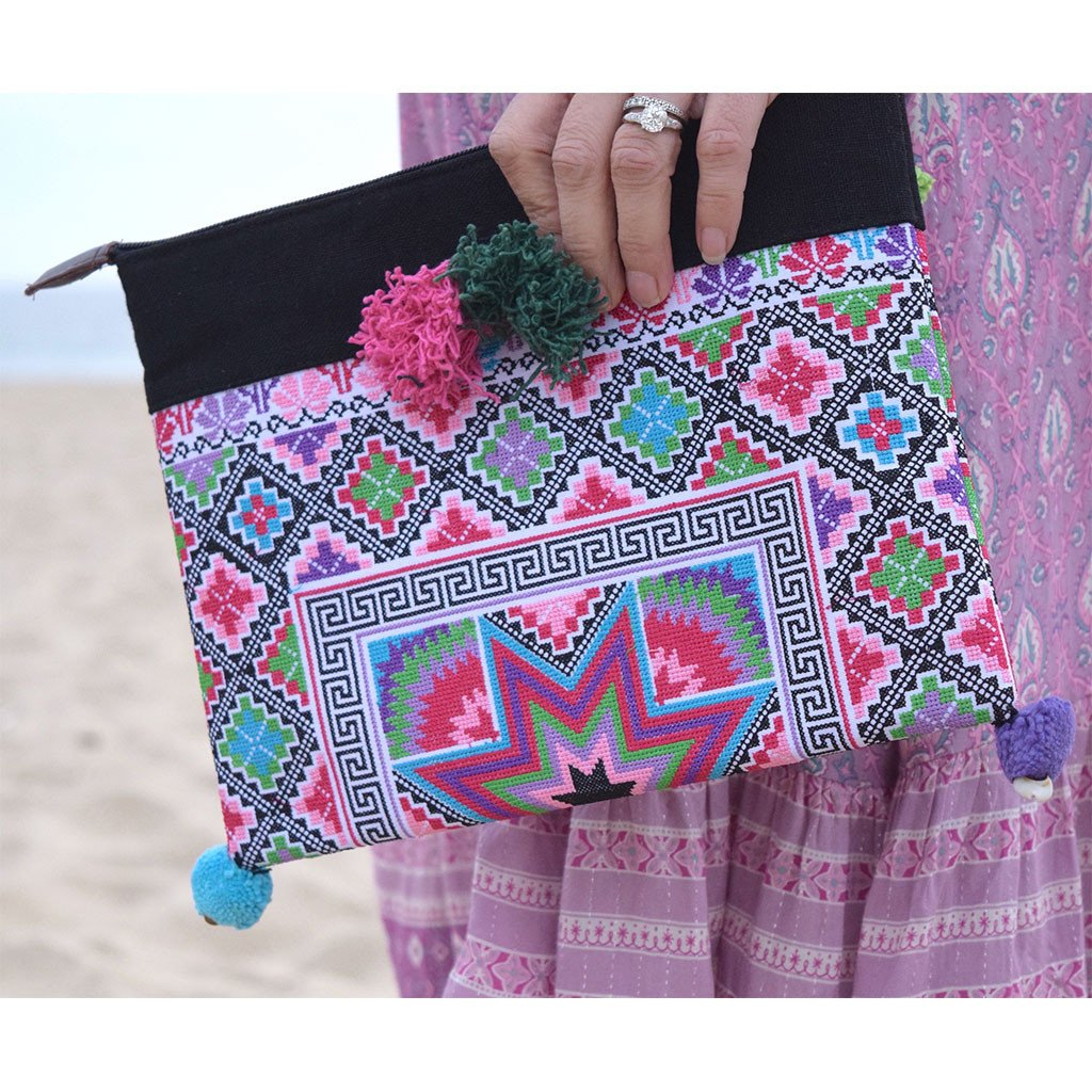 Hand Embroidered Ipad Clutch - The Fox and The Mermaid