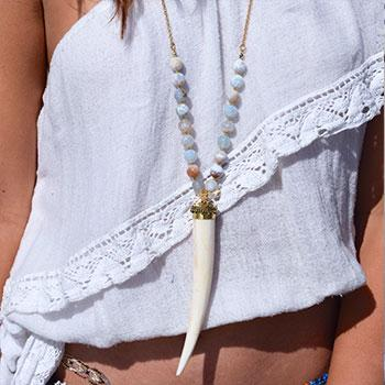 White with Pale Blue Beads