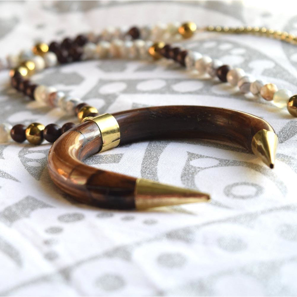 Boho Beaded Horn Necklace in Brown - The Fox and The Mermaid