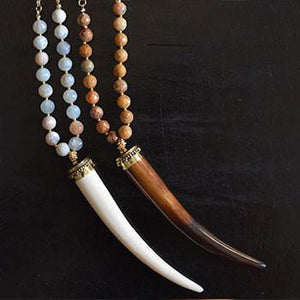 Horn Style Necklace with Brown or Blue Beads - The Fox and The Mermaid