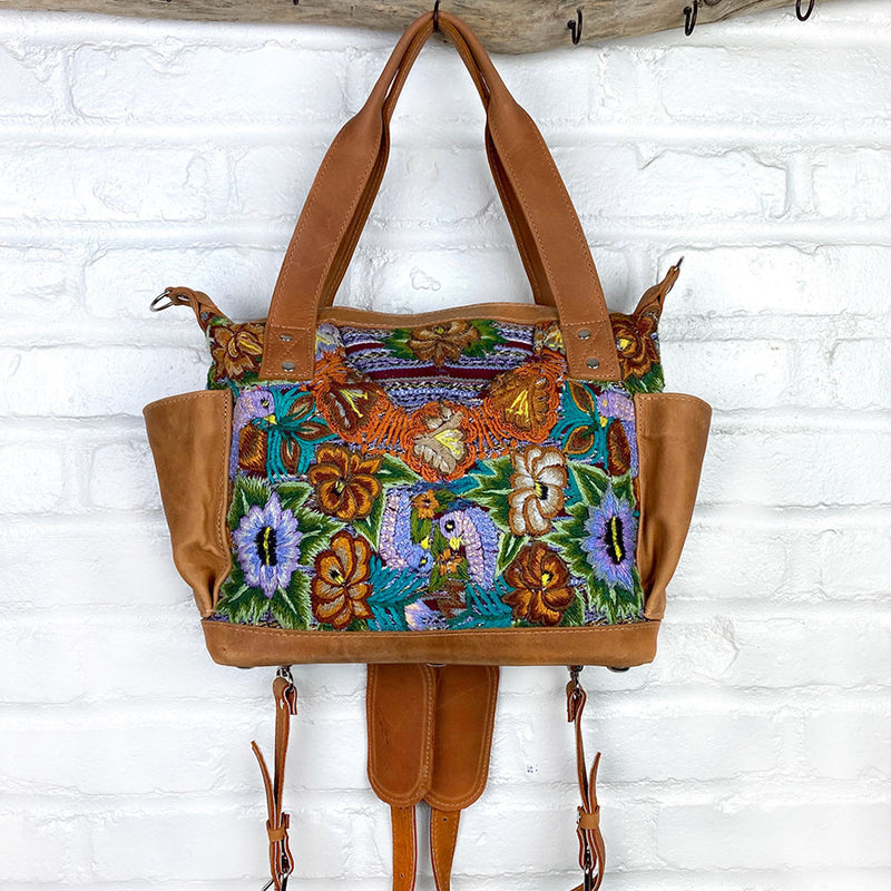 soft leather huipil backpack bag with detachable straps - The Fox and the Mermaid