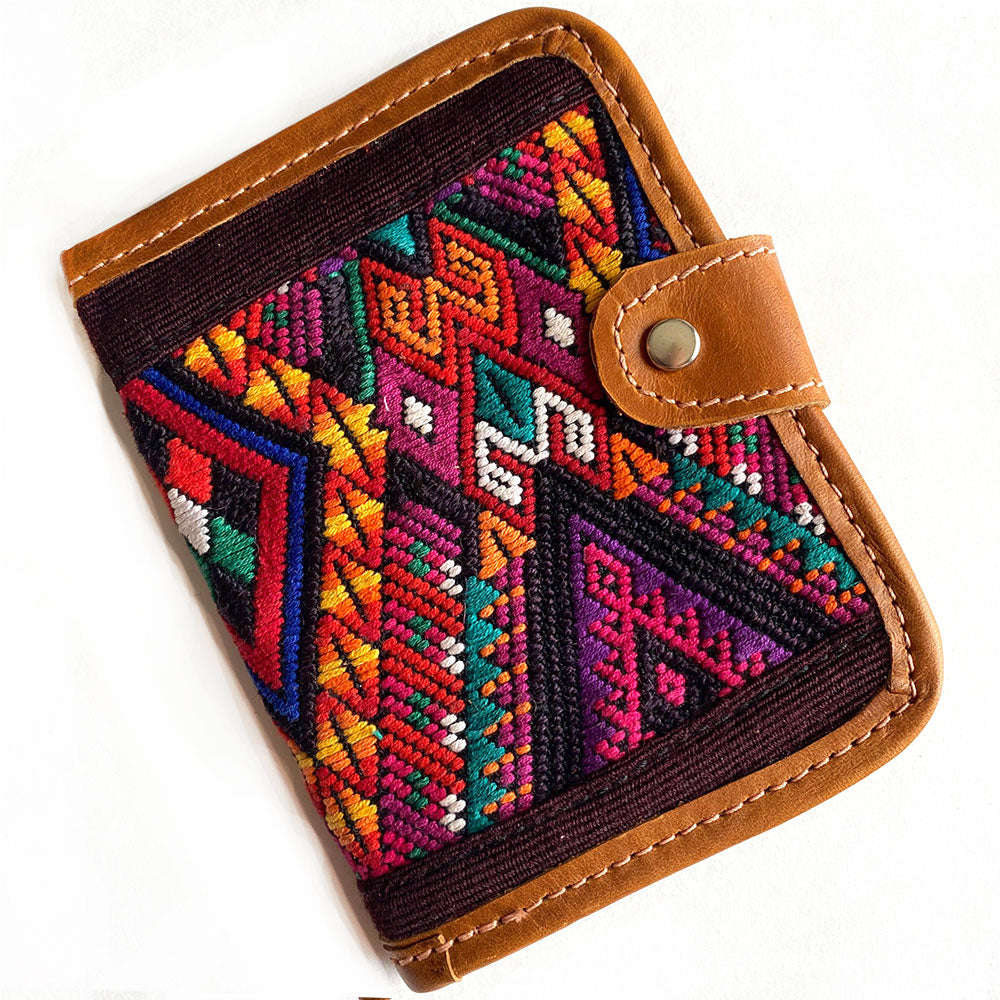 Hand Woven Embroidered wallet for passports - The Fox and the Mermaid