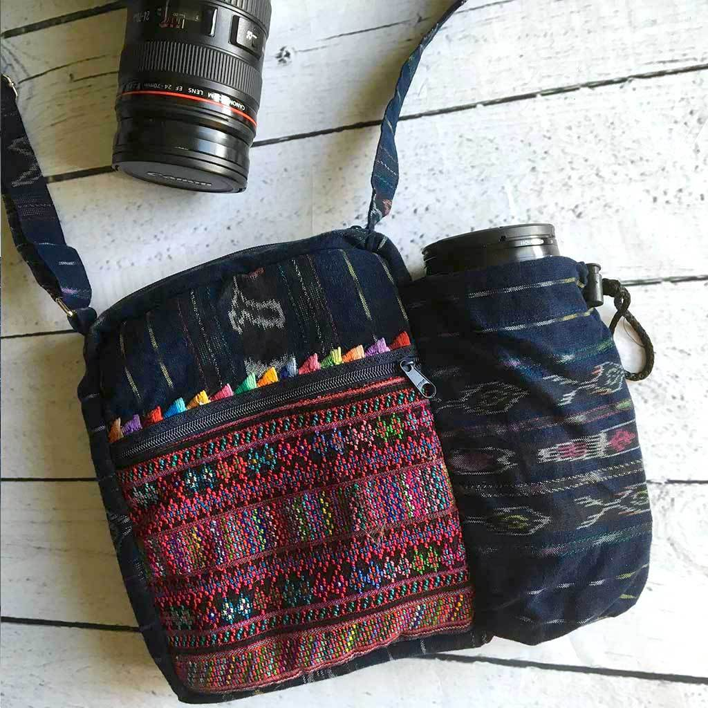 Mayan Embroidered Ikat Denim Camera Bag The Fox and the Mermaid