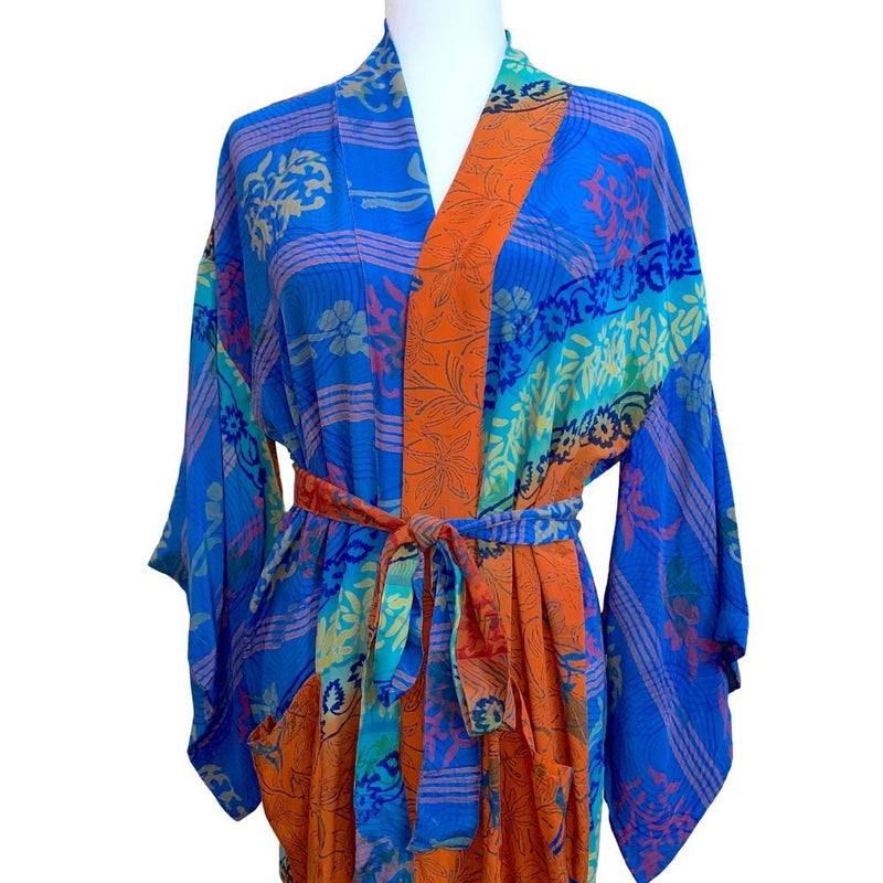 blue and terracotta silk kimono  - THE FOX AND THE MERMAID